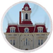 Chase County Courthouse In Kansas Round Beach Towel