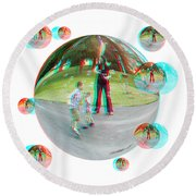 Chasing Bubbles - Red/cyan Filtered 3d Glasses Required Round Beach Towel