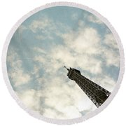 Chasing The Dream Paris Eiffel Tower Round Beach Towel