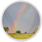 Chasing The Pot Of Gold  Round Beach Towel