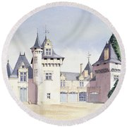 Chateau A Fontaine Round Beach Towel