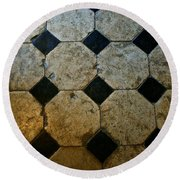 Chateau Brissac's Tile Floor Round Beach Towel