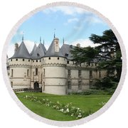 Chateau Chaumont From The Garden  Round Beach Towel