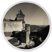 Chateau De Castelnaud With Hot Air Round Beach Towel