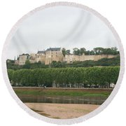 Chateau De Chinon - France Round Beach Towel