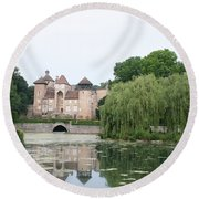 Chateau De Sercy - Burgundy Round Beach Towel