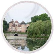 Chateau De Sercy - Burgundy Round Beach Towel