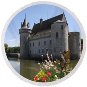 Chateau De Sully-sur-loire And Moat Round Beach Towel