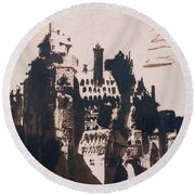 Chateau Fortified By Two Bridges Round Beach Towel by Victor Hugo