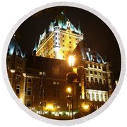Chateau Frontenac At Night Round Beach Towel