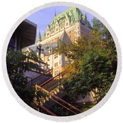 Chateau Frontenac In Quebec Round Beach Towel