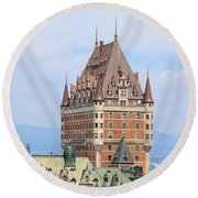 Chateau Frontenac Quebec City Canada Round Beach Towel