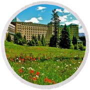 Chateau Lake Louise In Banff Np-alberta Round Beach Towel