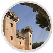Chateau Of King Rene, France Round Beach Towel
