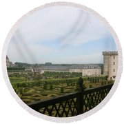 Chateau Vilandry And Garden View Round Beach Towel