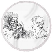 Chating  Round Beach Towel