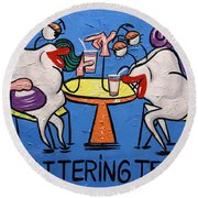 Chattering Teeth Dental Art By Anthony Falbo Round Beach Towel