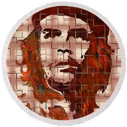 Che Guevara Digital From Watercolor Painting Round Beach Towel