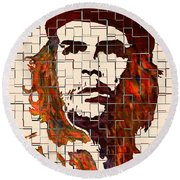 Che Guevara Watercolor Painting Round Beach Towel