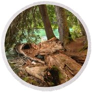 Cheakamus Lake Shoreline Round Beach Towel