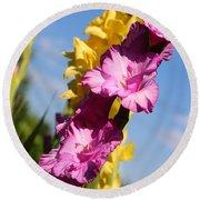 Cheerful Gladiolus Round Beach Towel