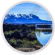 Cheers To Iceland Round Beach Towel