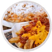 Cheesy Bacon Fries And Funnel Cake Round Beach Towel