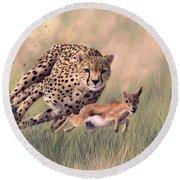 Cheetah And Gazelle Painting Round Beach Towel