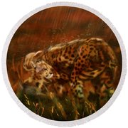 Cheetah Family After The Rains Round Beach Towel