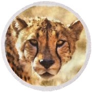 Cheetah One Round Beach Towel