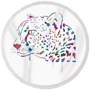 Cheetah Watercolor - White Round Beach Towel