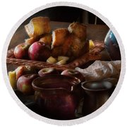 Chef - Food - A Tribute To Rembrandt - Apples And Rolls  Round Beach Towel