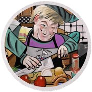 Chef With Heart Round Beach Towel