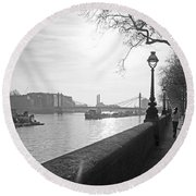 Chelsea Embankment London Uk 3 Round Beach Towel