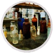 Chemistry - Assorted Chemicals In Bottles Round Beach Towel