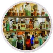 Chemistry - Bottles Of Chemicals Green And Brown Round Beach Towel