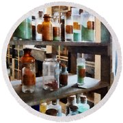 Chemistry - Bottles Of Chemicals Round Beach Towel