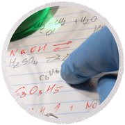 Chemistry Formulas In Science Research Lab Round Beach Towel