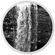 Cherokee Falls In Monochrome Round Beach Towel
