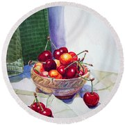 Cherries Round Beach Towel by Irina Sztukowski