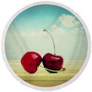 Cherries Love Round Beach Towel