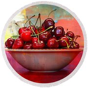 Cherries On The Table With Textures Round Beach Towel