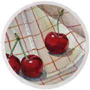 Cherry Talk By Irina Sztukowski Round Beach Towel