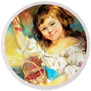Cherry Basket Girl Round Beach Towel