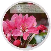Cherry Blossom Greeting Card With Verse Round Beach Towel