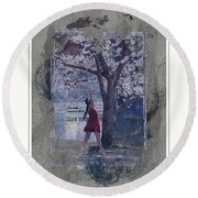 Cherry Blossom Red Abstract Round Beach Towel