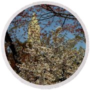 Cherry Blossoms And The Monument Round Beach Towel