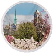 Cherry Blossoms And The Sacred Heart Round Beach Towel