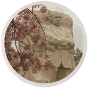 Cherry Blossoms At The Martin Luther King Jr Memorial Round Beach Towel
