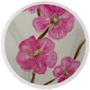 Cherry Blossoms Blooming  Round Beach Towel